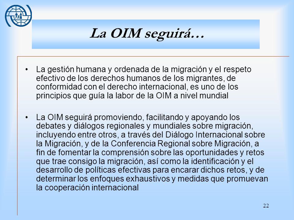 La OIM seguirá…