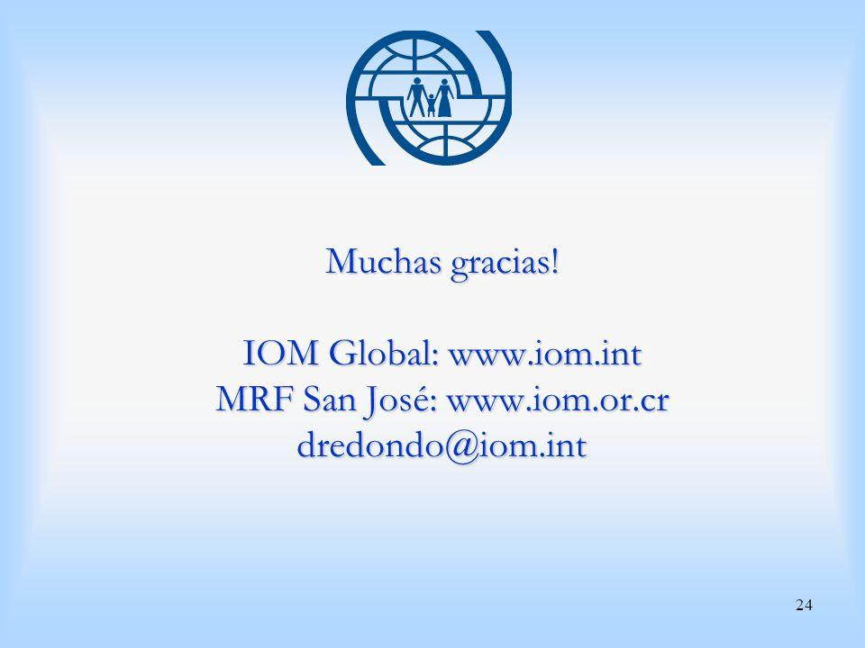 Muchas gracias. IOM Global: www. iom. int MRF San José: www. iom. or