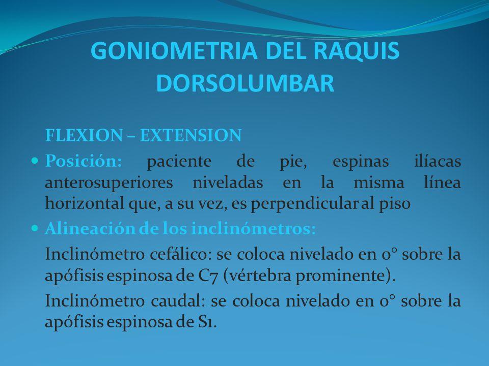 GONIOMETRIA DEL RAQUIS DORSOLUMBAR