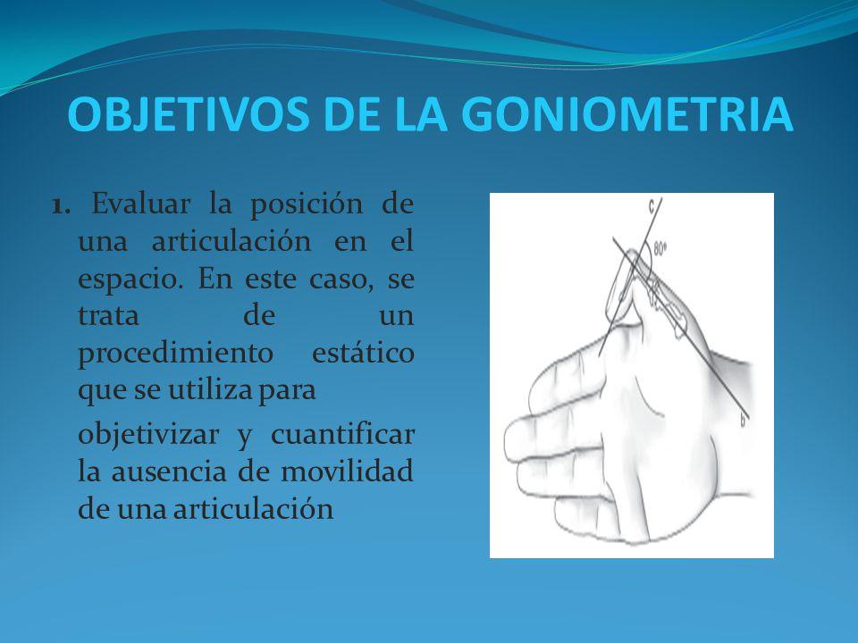 OBJETIVOS DE LA GONIOMETRIA
