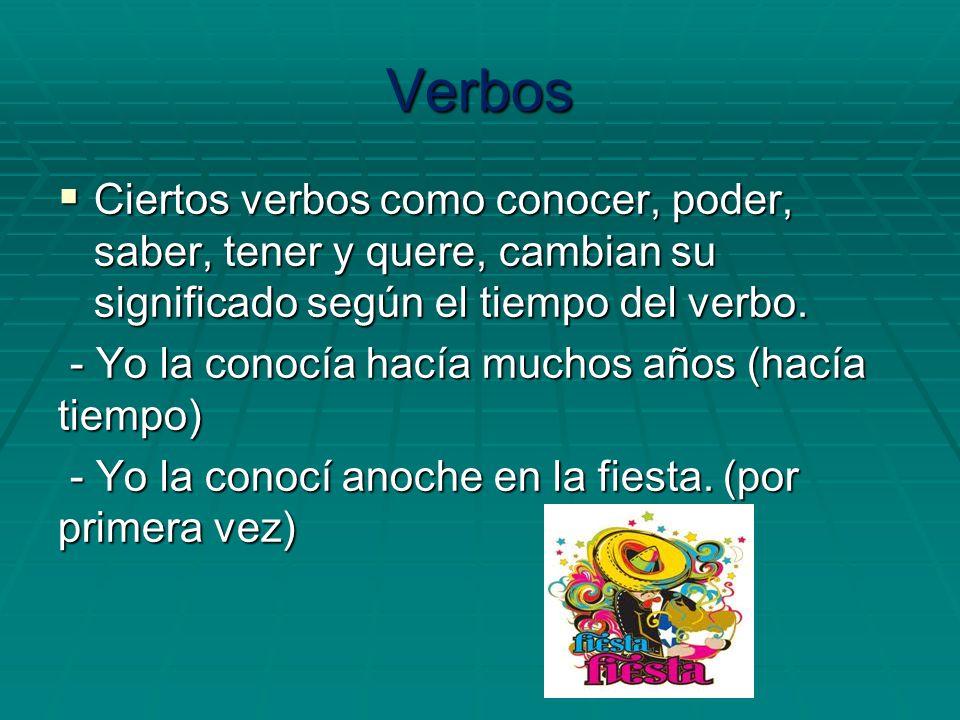 Verbos Ciertos verbos como conocer, poder, saber, tener y quere, cambian su significado según el tiempo del verbo.