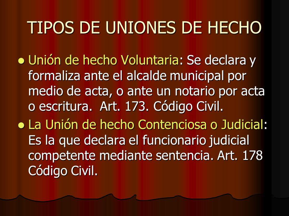 TIPOS DE UNIONES DE HECHO