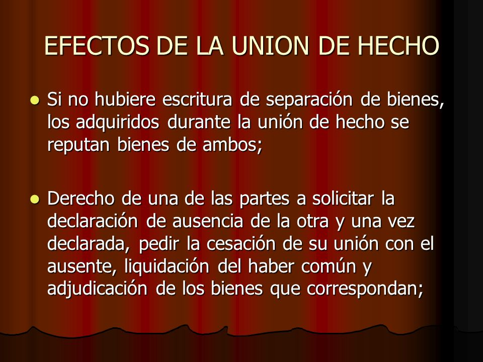 EFECTOS DE LA UNION DE HECHO