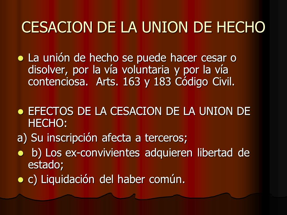 CESACION DE LA UNION DE HECHO