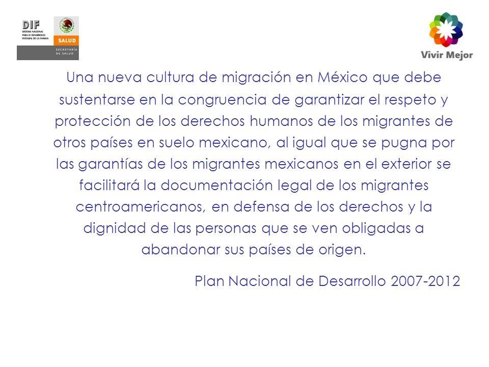 Una nueva cultura de migración en México que debe sustentarse en la congruencia de garantizar el respeto y protección de los derechos humanos de los migrantes de otros países en suelo mexicano, al igual que se pugna por las garantías de los migrantes mexicanos en el exterior se facilitará la documentación legal de los migrantes centroamericanos, en defensa de los derechos y la dignidad de las personas que se ven obligadas a abandonar sus países de origen.