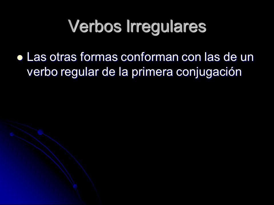 Verbos Irregulares Las otras formas conforman con las de un verbo regular de la primera conjugación