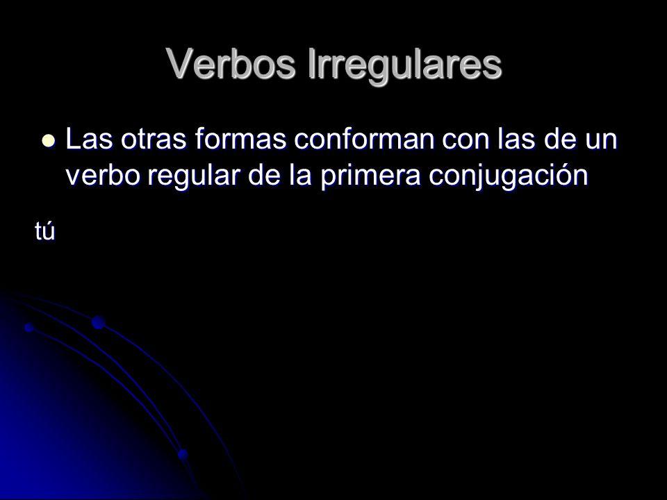 Verbos Irregulares Las otras formas conforman con las de un verbo regular de la primera conjugación.