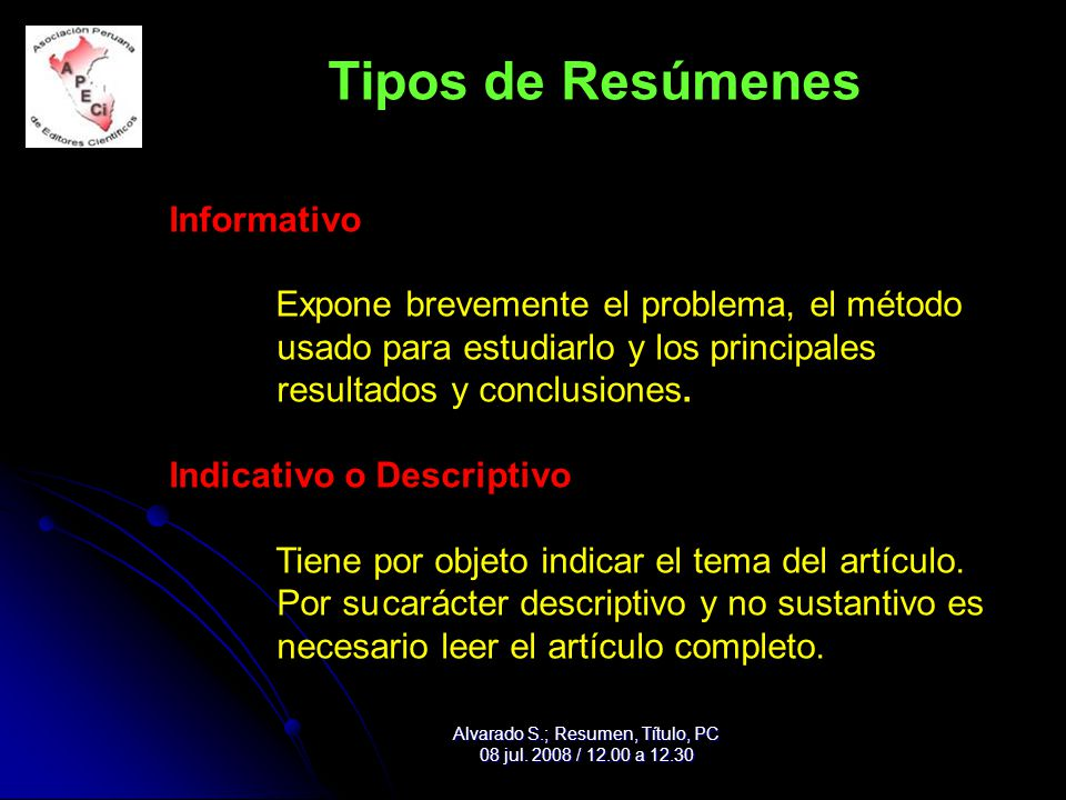 Alvarado S.; Resumen, Título, PC