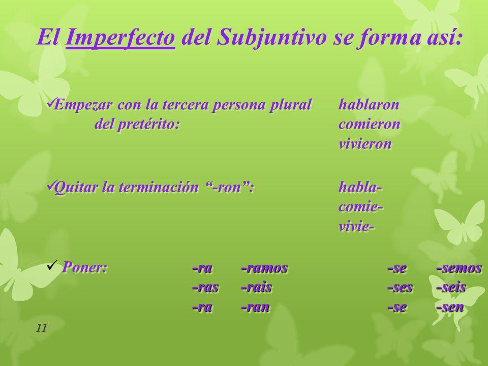 El Imperfecto del Subjuntivo se forma así: