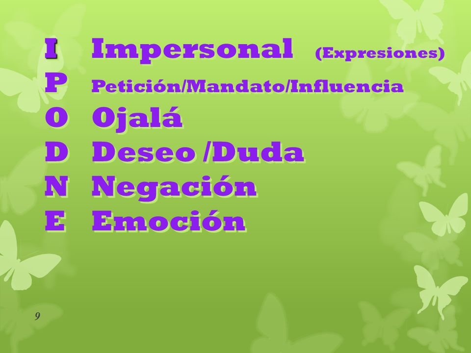 I Impersonal (Expresiones)