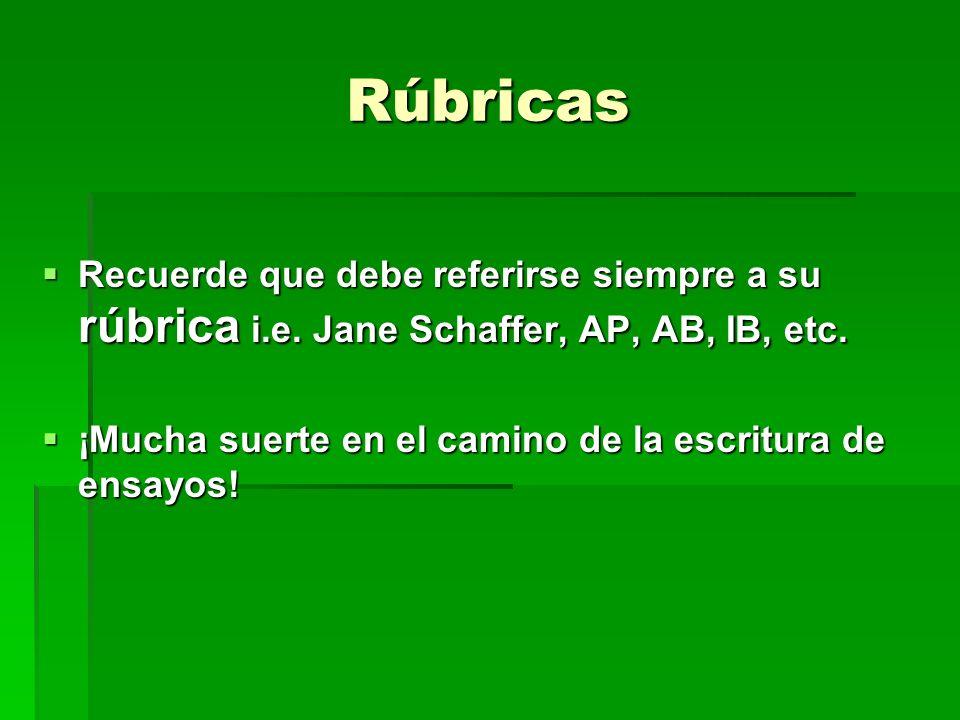 Rúbricas Recuerde que debe referirse siempre a su rúbrica i.e. Jane Schaffer, AP, AB, IB, etc.