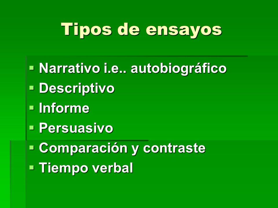 Tipos de ensayos Narrativo i.e.. autobiográfico Descriptivo Informe
