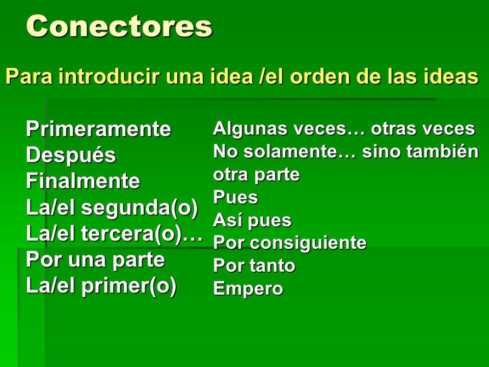 Conectores Para introducir una idea /el orden de las ideas