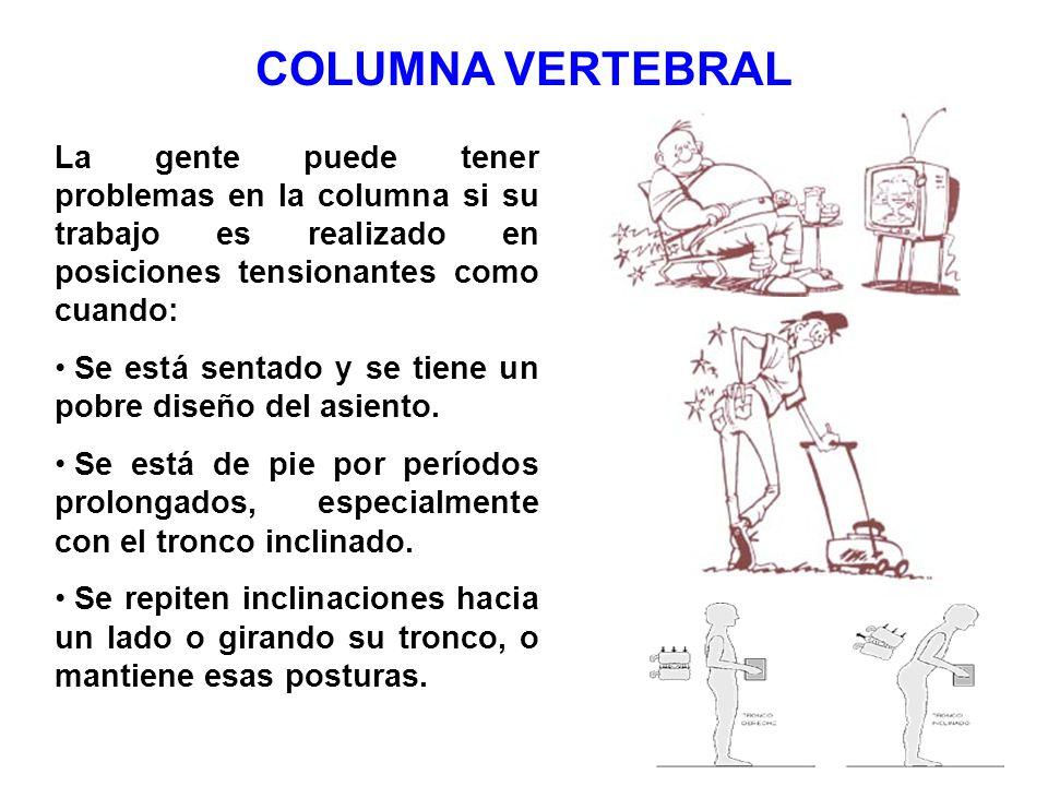 COLUMNA VERTEBRAL La gente puede tener problemas en la columna si su trabajo es realizado en posiciones tensionantes como cuando: