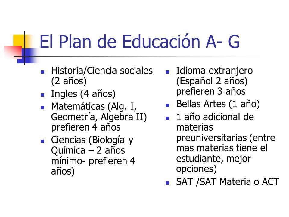 El Plan de Educación A- G
