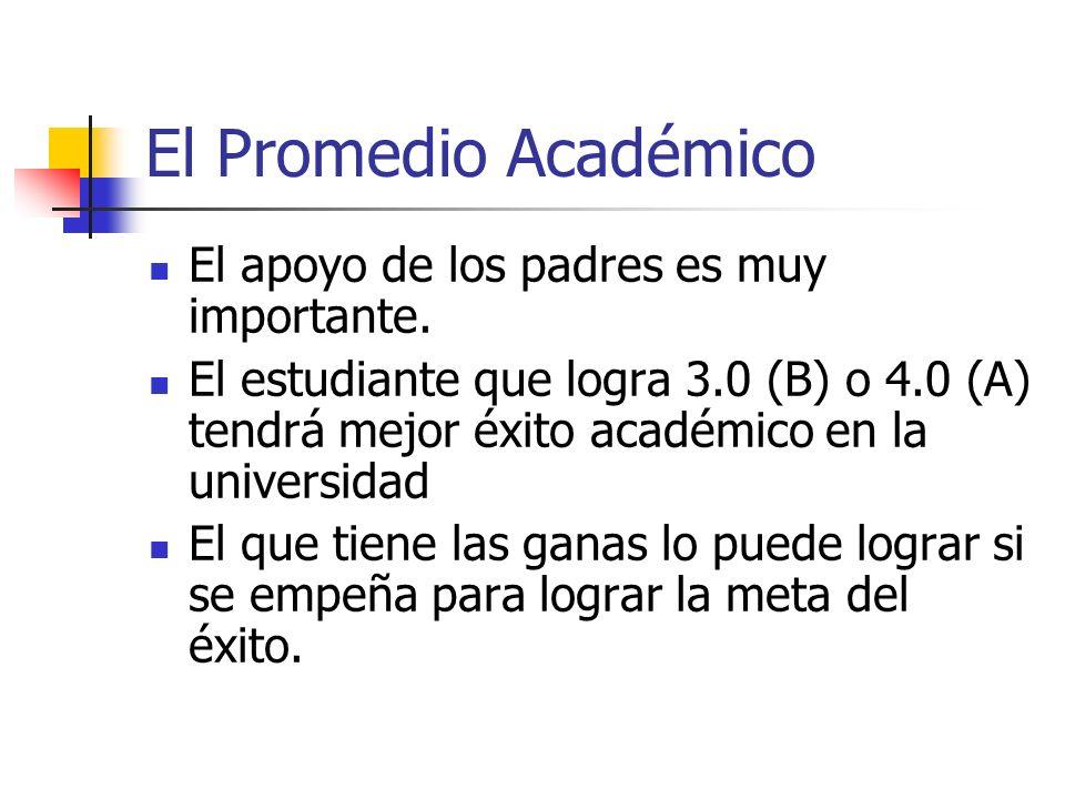 El Promedio Académico El apoyo de los padres es muy importante.