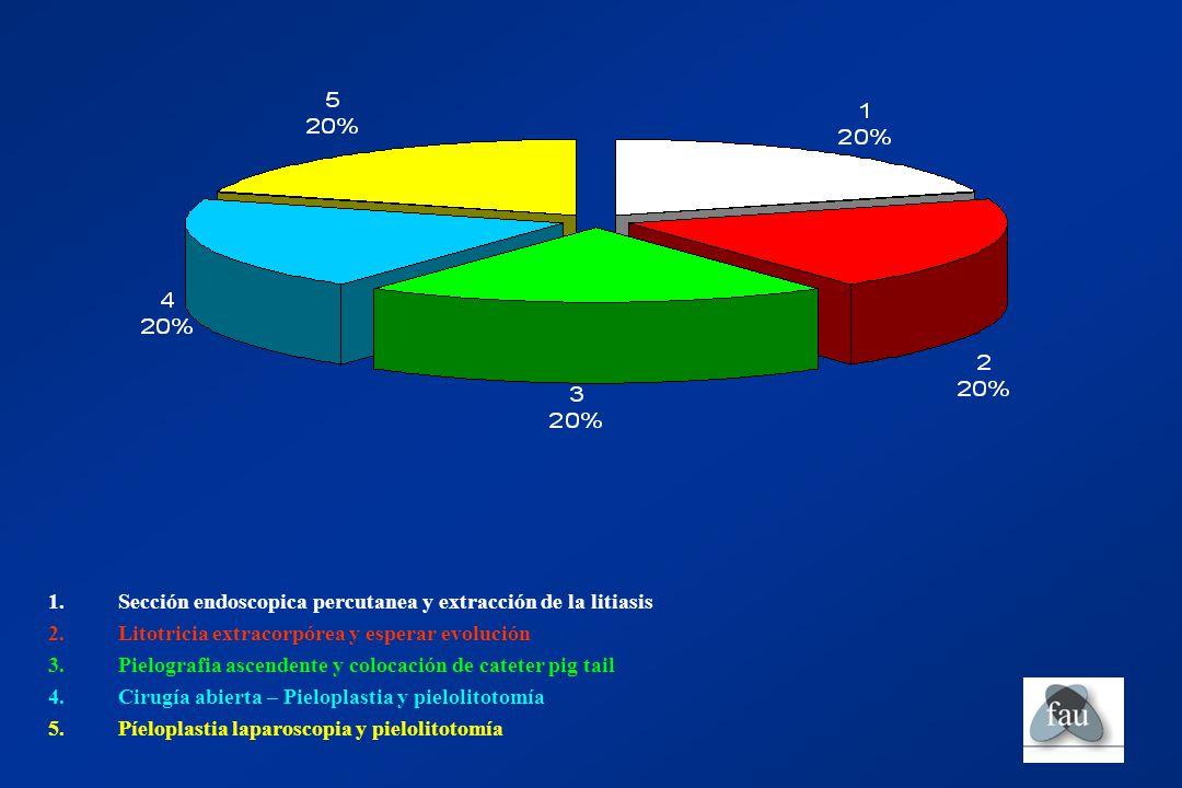Sección endoscopica percutanea y extracción de la litiasis