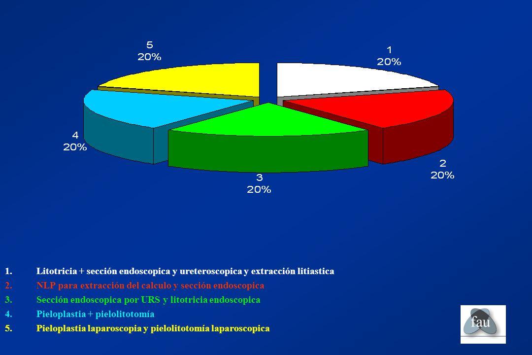 Litotricia + sección endoscopica y ureteroscopica y extracción litiastica
