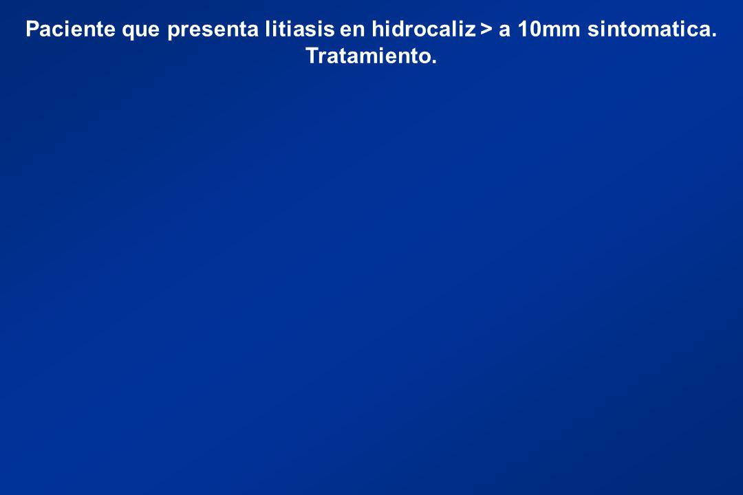 Paciente que presenta litiasis en hidrocaliz > a 10mm sintomatica