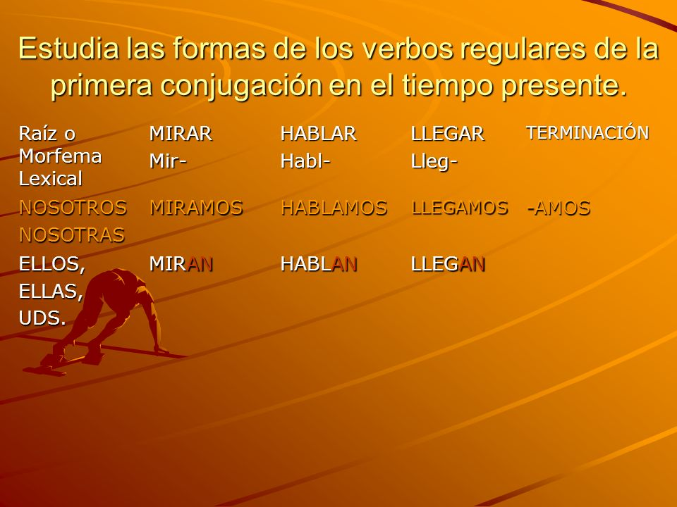 Estudia las formas de los verbos regulares de la primera conjugación en el tiempo presente.