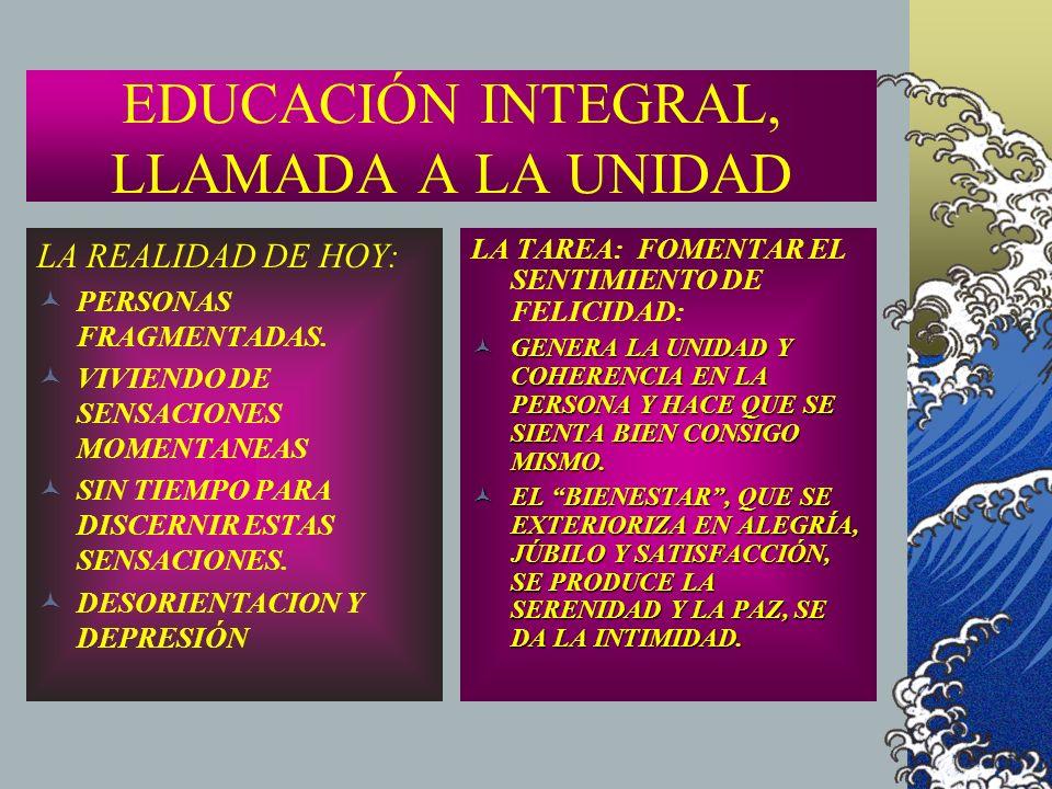 EDUCACIÓN INTEGRAL, LLAMADA A LA UNIDAD