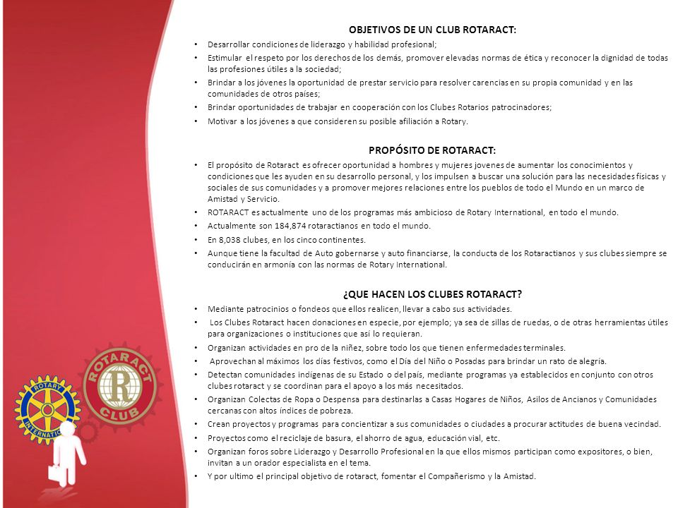 OBJETIVOS DE UN CLUB ROTARACT: