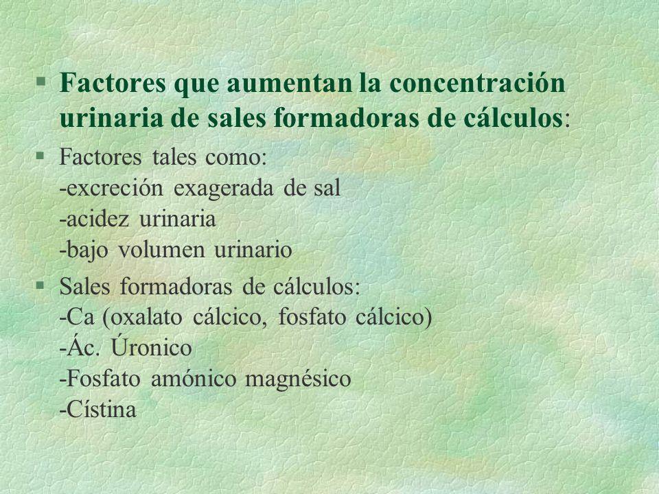Factores que aumentan la concentración urinaria de sales formadoras de cálculos: