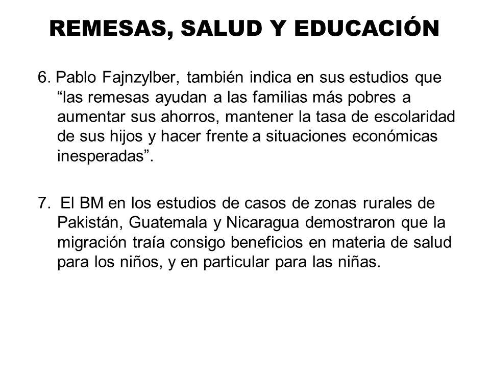 REMESAS, SALUD Y EDUCACIÓN