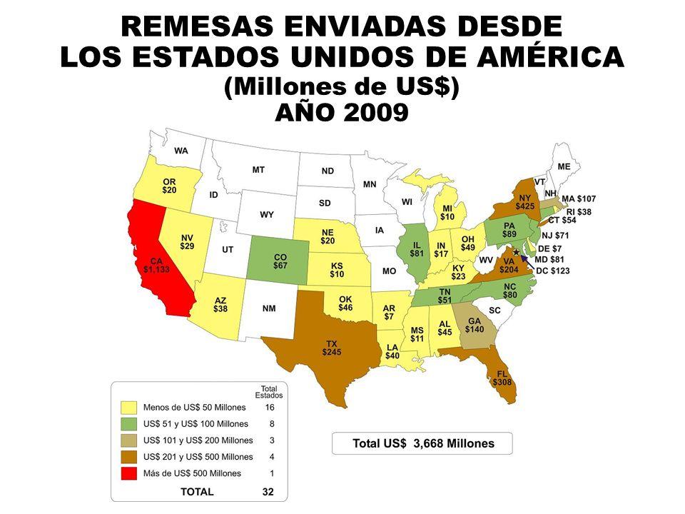 REMESAS ENVIADAS DESDE LOS ESTADOS UNIDOS DE AMÉRICA