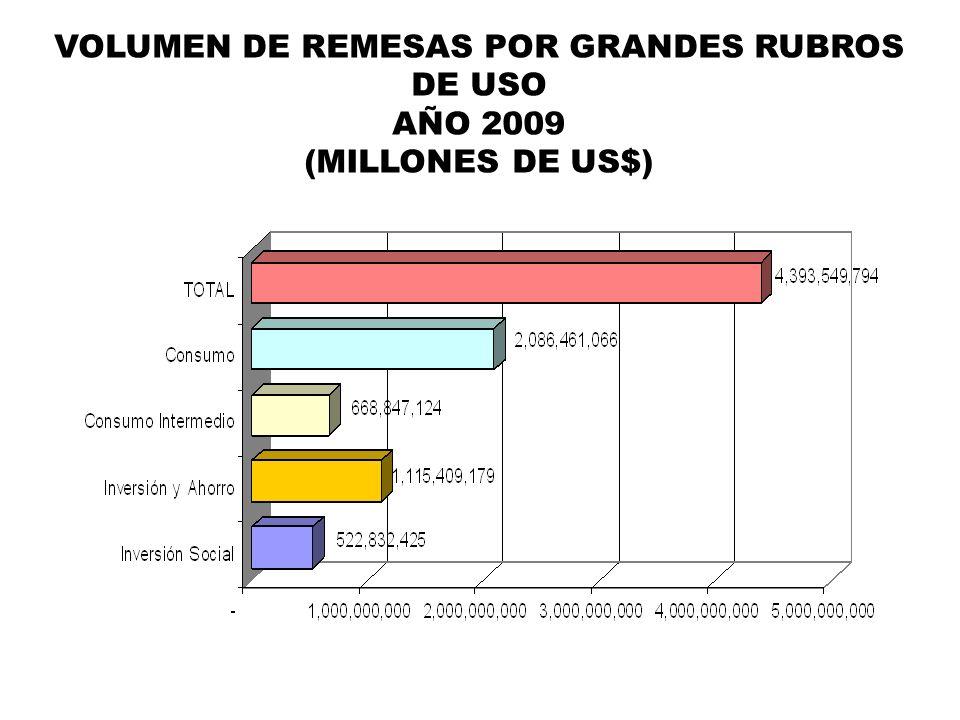 VOLUMEN DE REMESAS POR GRANDES RUBROS DE USO