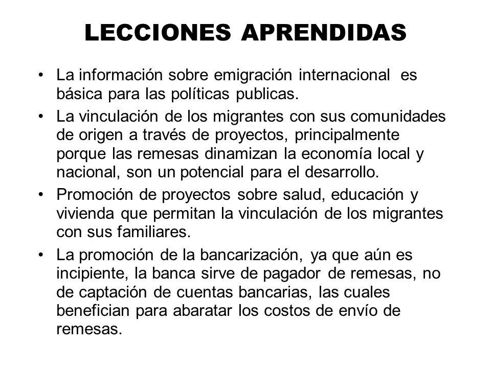 LECCIONES APRENDIDAS La información sobre emigración internacional es básica para las políticas publicas.