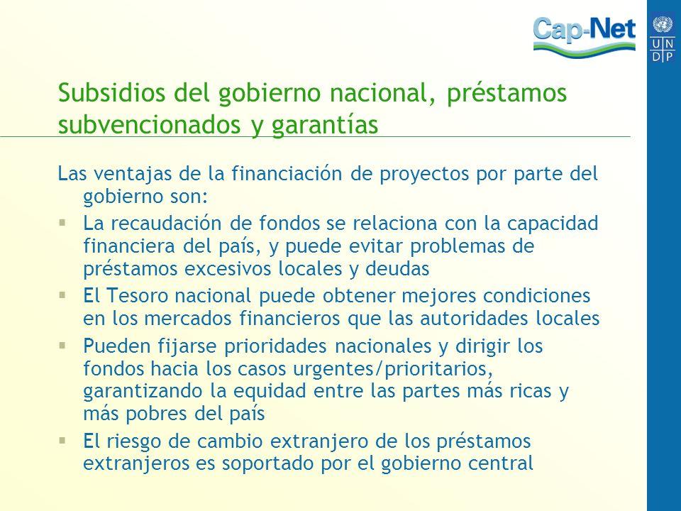 Subsidios del gobierno nacional, préstamos subvencionados y garantías