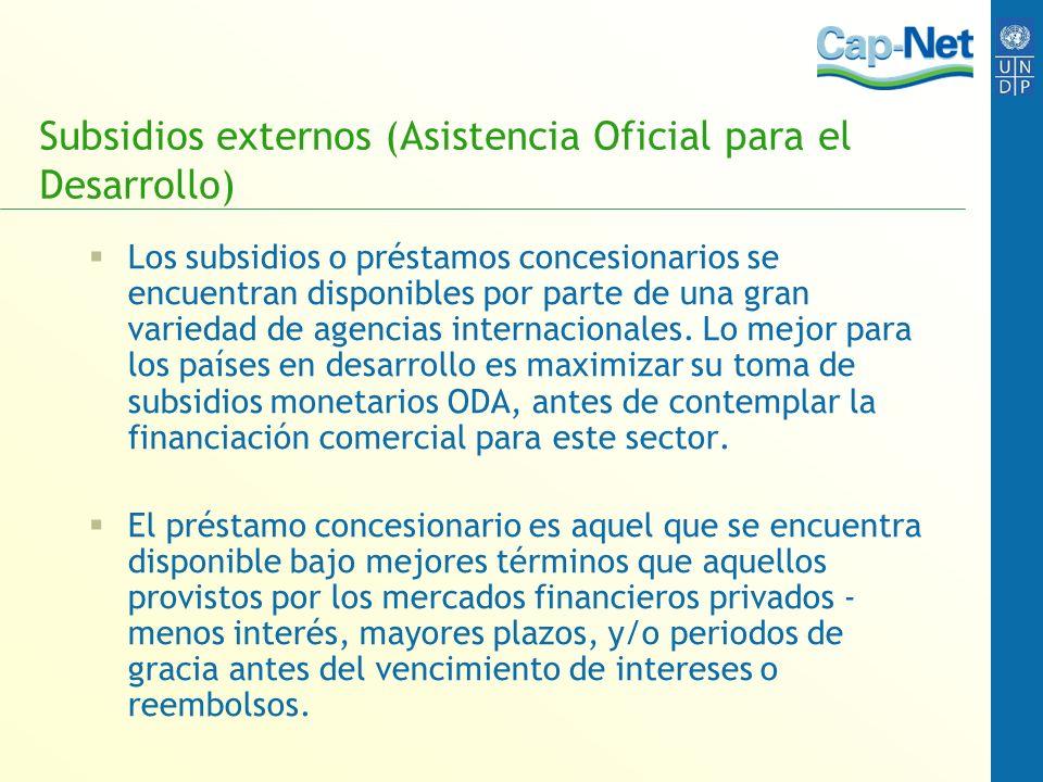 Subsidios externos (Asistencia Oficial para el Desarrollo)