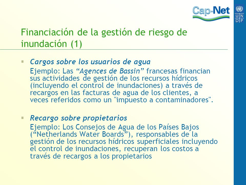 Financiación de la gestión de riesgo de inundación (1)