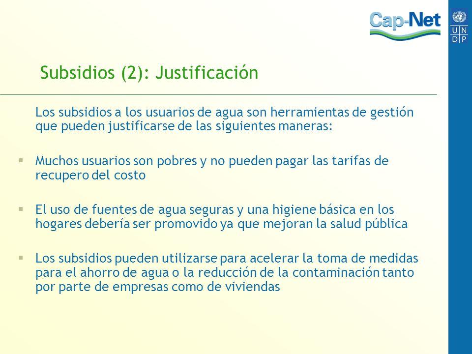 Subsidios (2): Justificación
