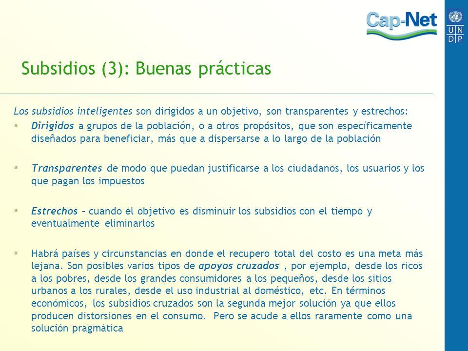 Subsidios (3): Buenas prácticas