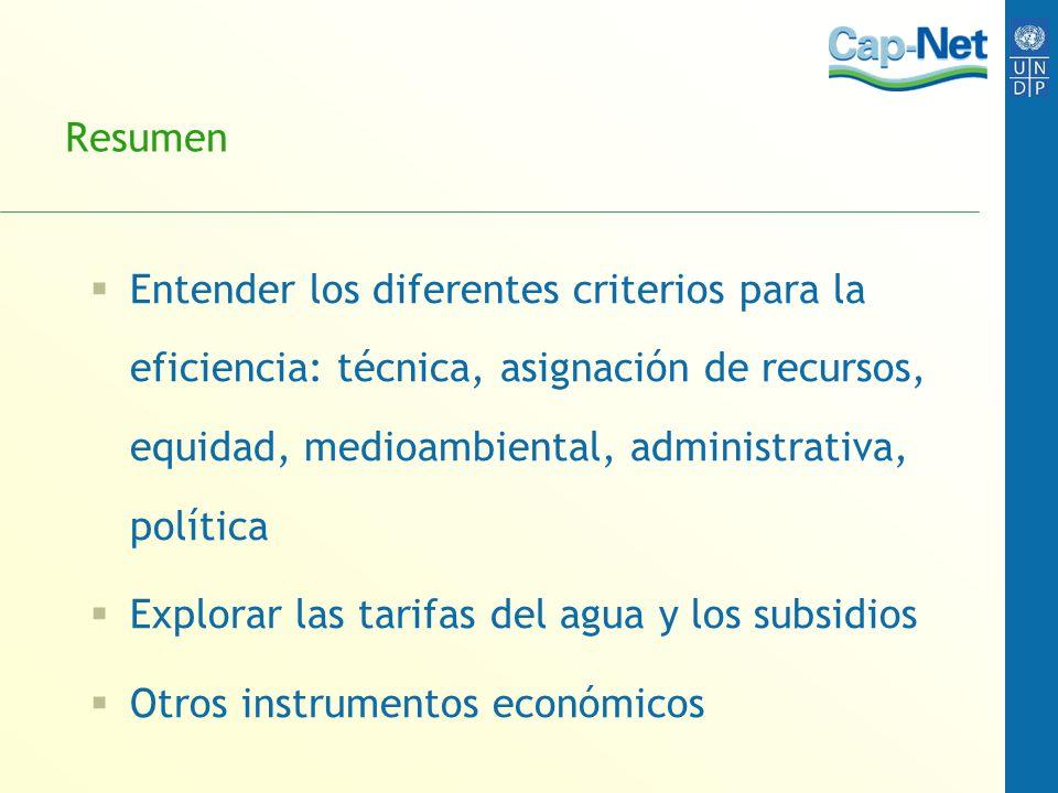 Resumen Entender los diferentes criterios para la eficiencia: técnica, asignación de recursos, equidad, medioambiental, administrativa, política.