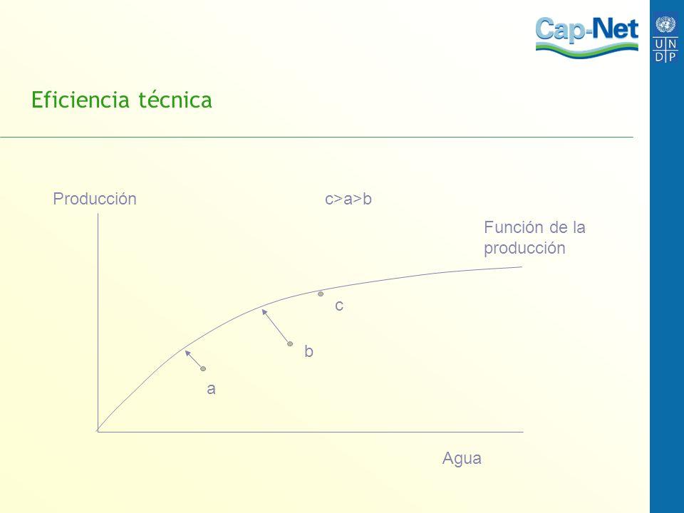 Eficiencia técnica Producción c>a>b Función de la producción c b
