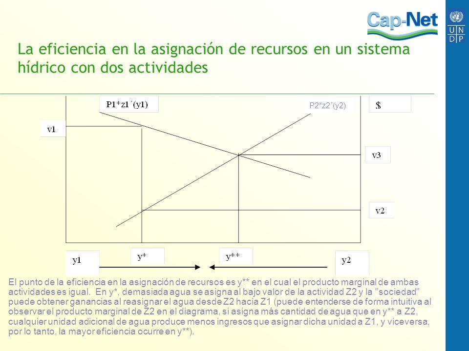 La eficiencia en la asignación de recursos en un sistema hídrico con dos actividades