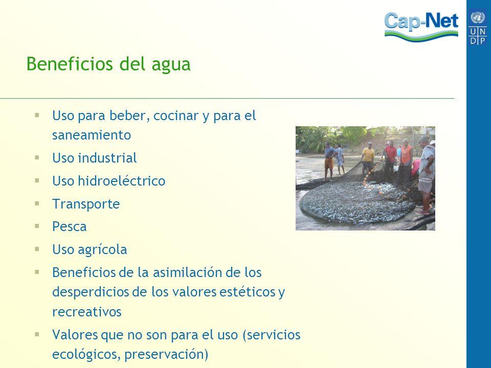 Beneficios del agua Uso para beber, cocinar y para el saneamiento