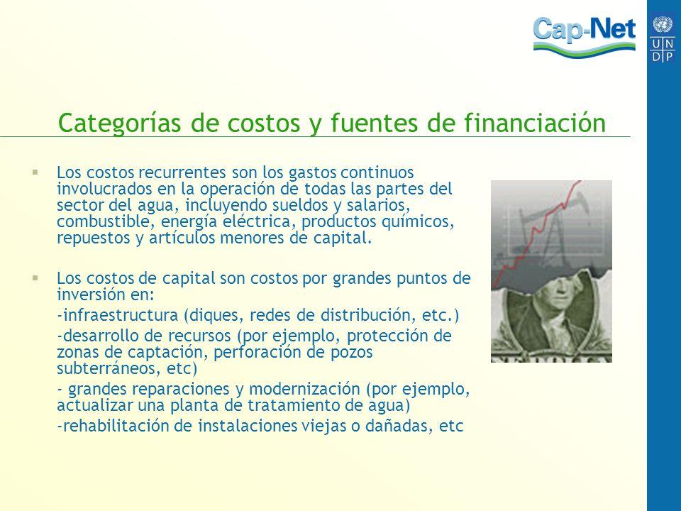 Categorías de costos y fuentes de financiación