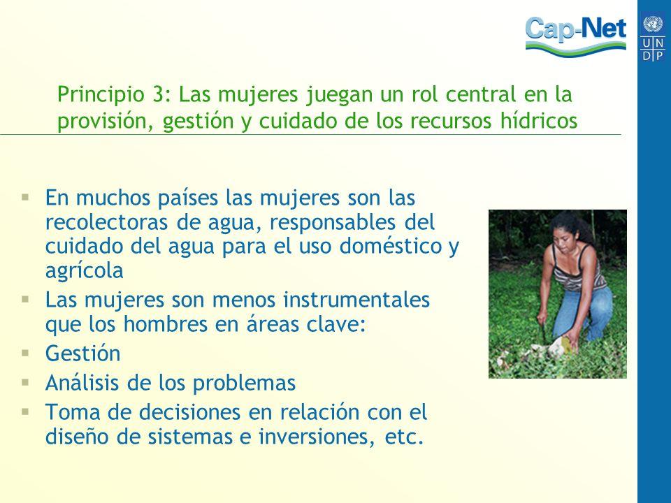 Principio 3: Las mujeres juegan un rol central en la provisión, gestión y cuidado de los recursos hídricos