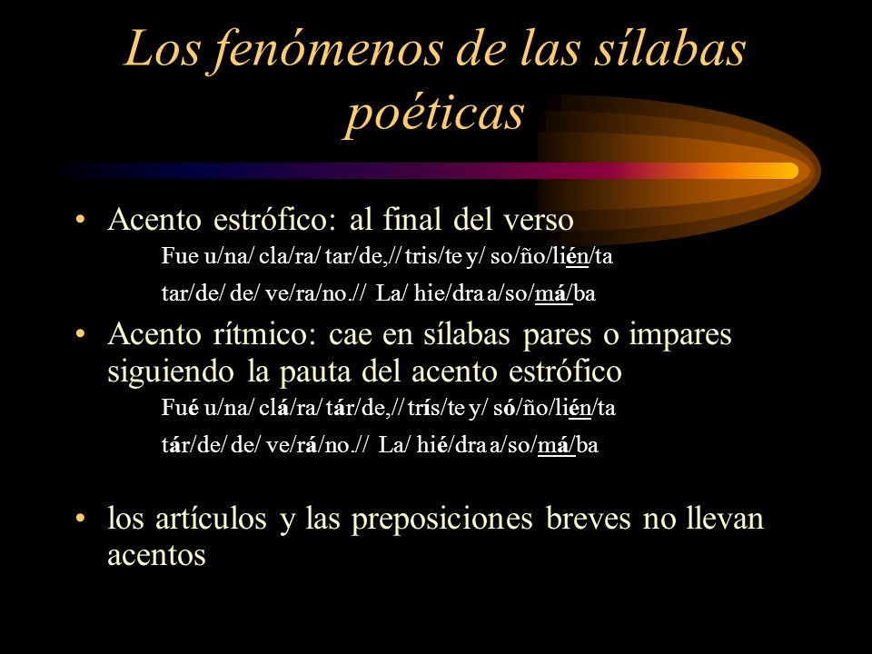 Los fenómenos de las sílabas poéticas
