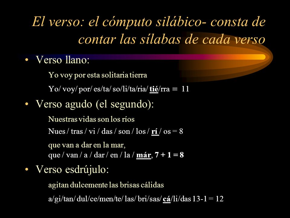 El verso: el cómputo silábico- consta de contar las sílabas de cada verso