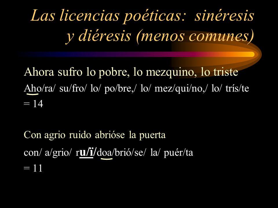 Las licencias poéticas: sinéresis y diéresis (menos comunes)