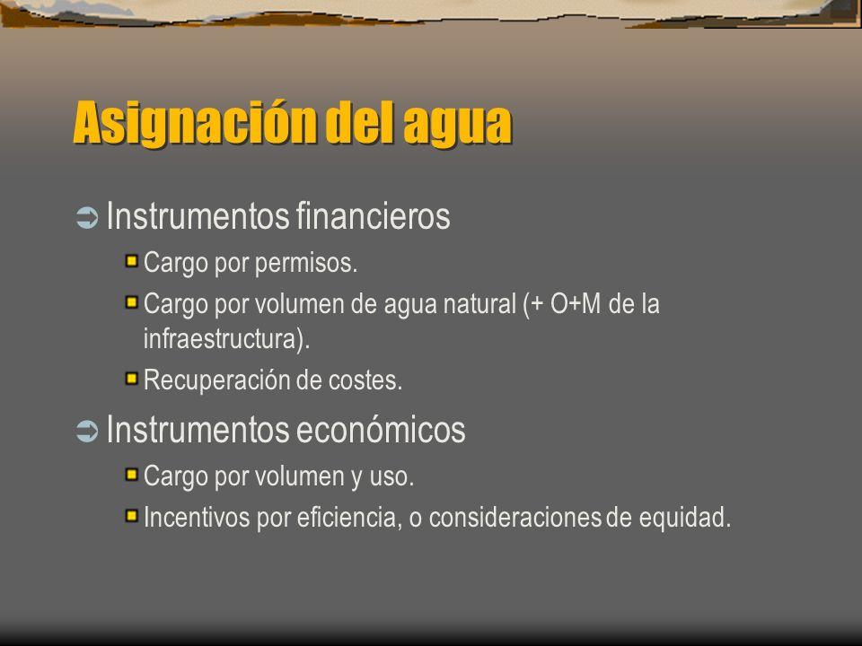 Asignación del agua Instrumentos financieros Instrumentos económicos