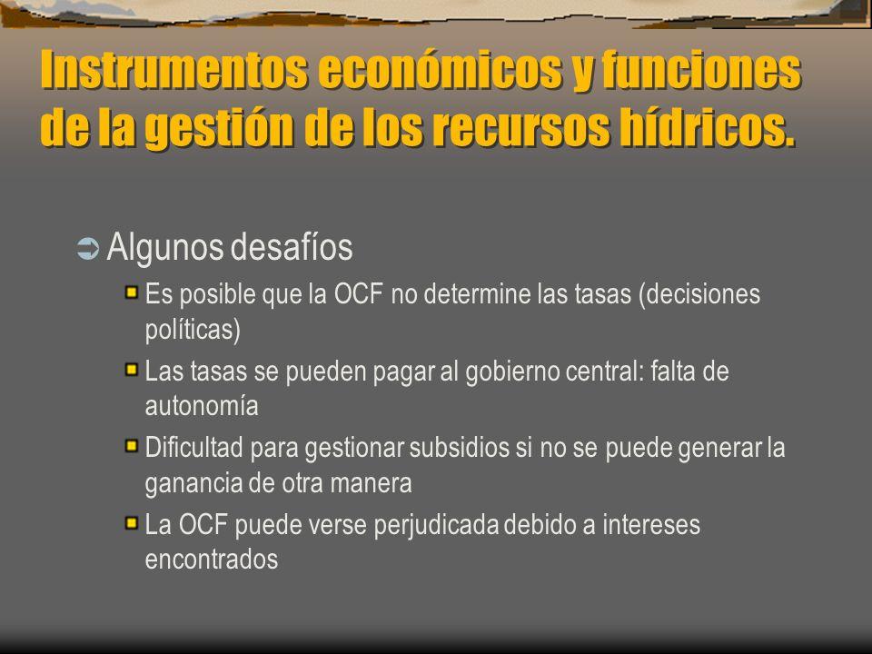Instrumentos económicos y funciones de la gestión de los recursos hídricos.