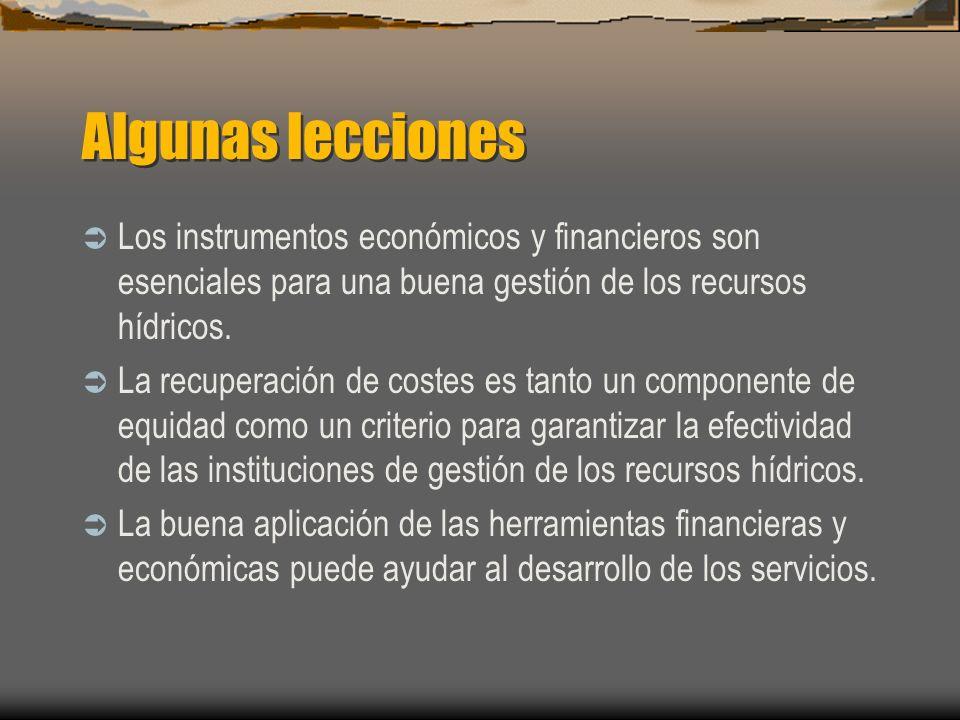 Algunas leccionesLos instrumentos económicos y financieros son esenciales para una buena gestión de los recursos hídricos.