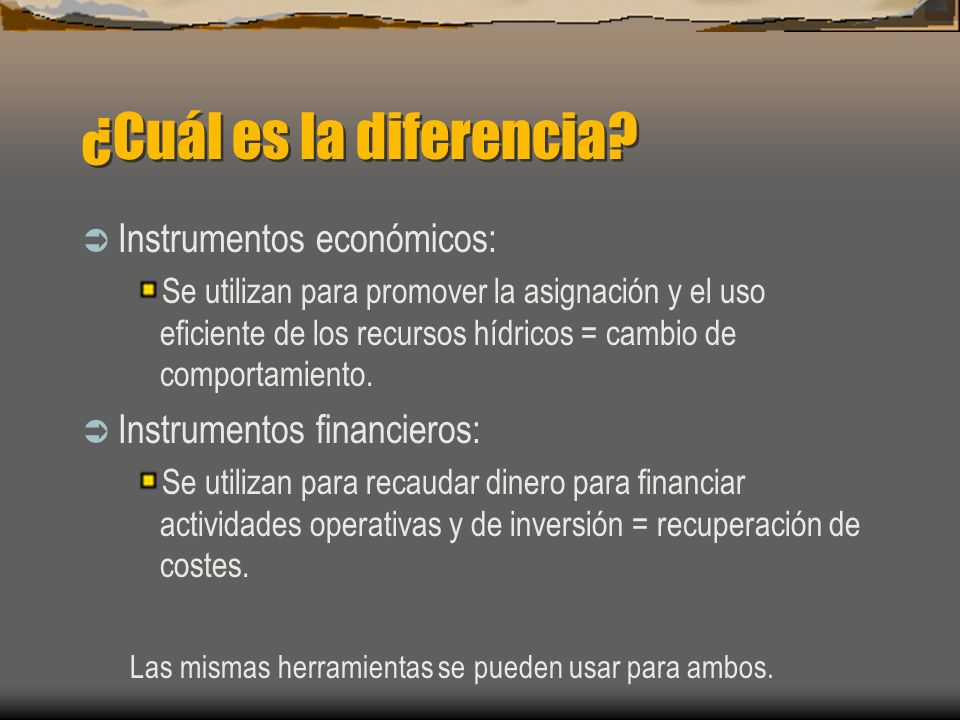 ¿Cuál es la diferencia Instrumentos económicos: