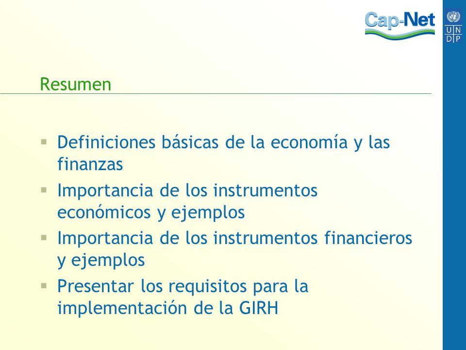 Resumen Definiciones básicas de la economía y las finanzas. Importancia de los instrumentos económicos y ejemplos.